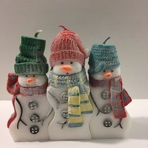 "Other - Snowman Puzzle Candles 3 Piece Frosted 5"" Tall"
